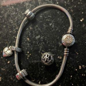COPY - Sterling silver Pandora Bracelet with two …
